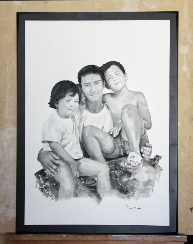 Fernando´s family portrait. The wonder years. Graphite, pastel & charcoal on paper