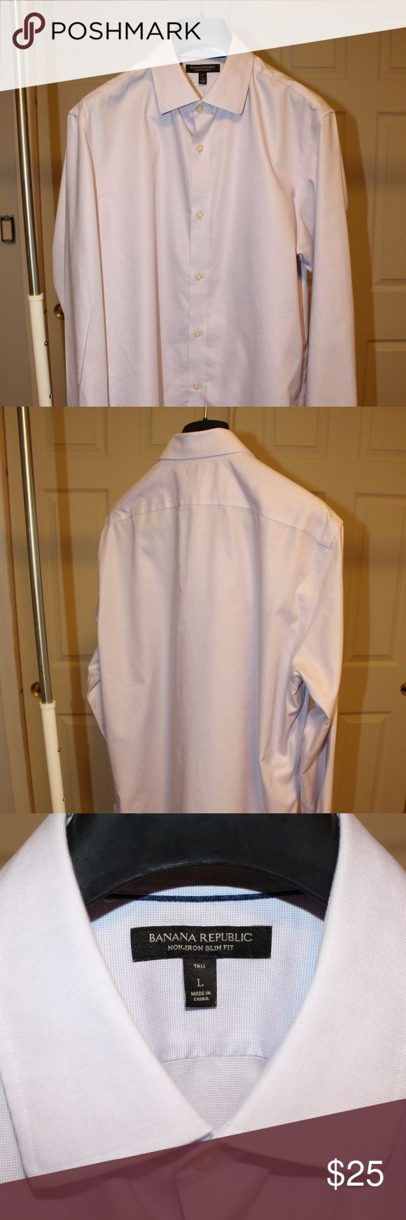 BR Non-Iron Slim Fit Dress Shirt BR Non-Iron Slim Fit Dress Shirt Size: L Tall Color: Lavender Condition: Like new, no stains, no tags, collar stays included  - Similar to *Grant Slim-Fit Non-Iron Stretch Solid Shirt* found on Banana Republic website. - Please search the BR website with previously mentioned *similar to title* for product details, fit, sizing, fabric, and care. Banana Republic Shirts Dress Shirts