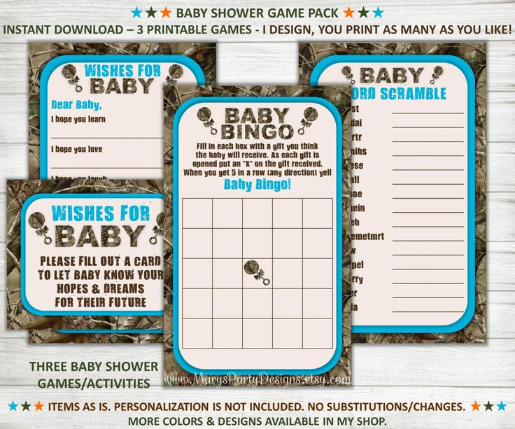 Camo Baby Shower Games - Wishes for Baby Bingo Word Scramble Blue Boy Camouflage Hunting - Instant Download 3 Game Pack by MarysPartyDesigns on Etsy