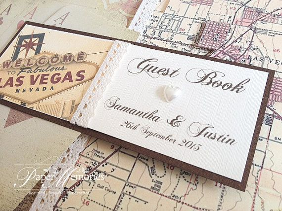 "Vintage Las Vegas Birthday Celebration Wedding Guest Book LARGE A fabulous addition to any celebration or for the couple who said ""I do"" in Vegas. Personalised with your own details. Worldwide shipping #etsy"