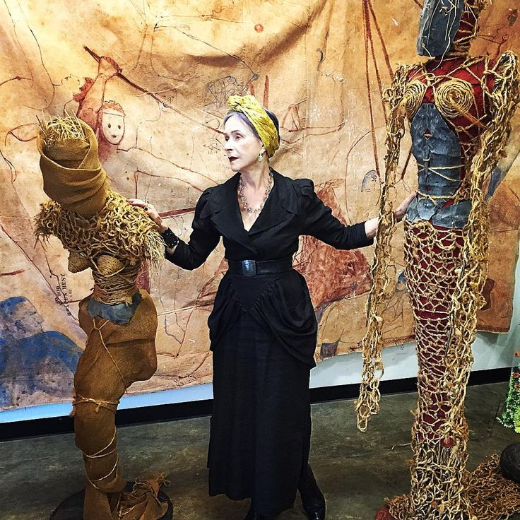 My goddesses revisited - made from straw / burlap/ rope //lead - The wall hanging, a circus act , like life itself -- the sponsor Gallery Les Yeux Du Monde #Charlottesville # IXPark come and visit ...
