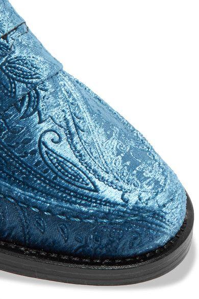 MR by Man Repeller - The Alternative To Bare Feet Embossed Velvet Loafers - Light blue - IT39