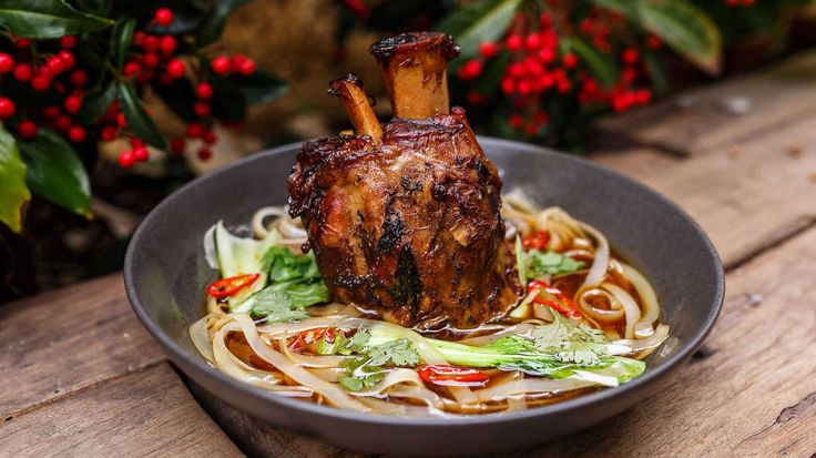 SLOW ROASTED PORK SHANK, RICE NOODLES, GINGER, LEMONGRASS, CHILLI by Samson's Paddock, Perth, WA