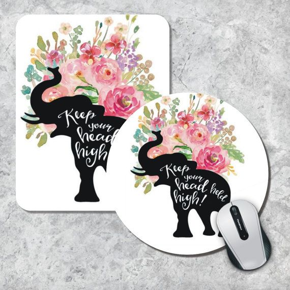 Quote Mousepad Keep Your Head Watercolor Mouse by MousePadCenter