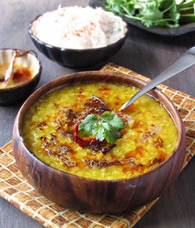 mom makes this for me whenever I'm sick. delicious! Aamer Dal - Red Lentils with Green Mango