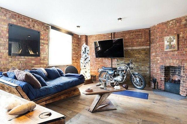 Ziegelwand Rustikale Holz Möbel Wohnzimmer