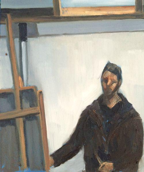 Kemp 2016 – Self Portrait in Workshop 27x33cm oil on panel « Kemp paints people