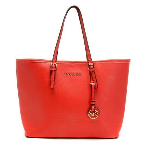 Michael Kors Jet Set Saffiano Travel Large Red Totes