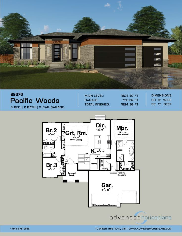 1 Story Modern Prairie Style Plan Pacific Woods Woodconstructionplans House Plans One Story House Plans My House Plans