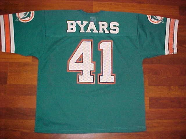 Logo 7 NFL AFC East Miami Dolphins Keith Byars #41 Aqua Green Football Jersey L