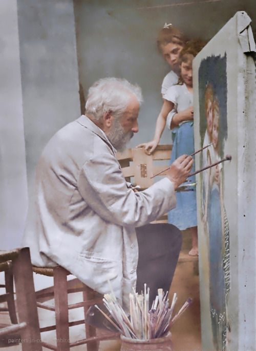 "William-Adolphe Bouguereau working on his painting ""Les Deux Soeurs"" (The Two Sisters), 1899."