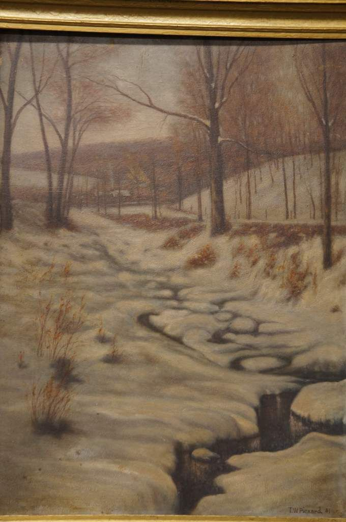 TW Pickard 1941 Realist Oil Landscape Painting Winter Creek with Trees Framed | The Designers Consignment