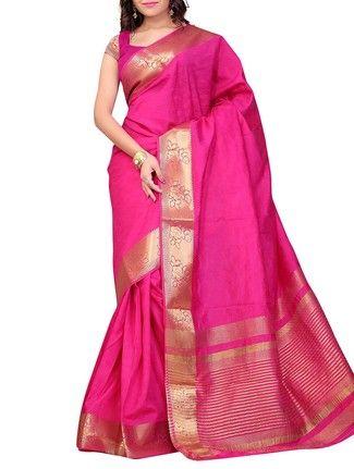 Buy Indi Wardrobe Pink Handloom Kanjivaram Silk saree with blouse piece Online, , LimeRoad