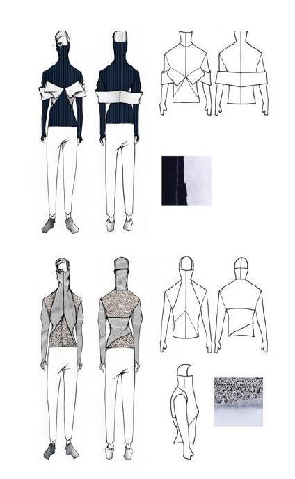 Fashion Sketchbook - fashion design drawings for stretch & drape project; fashion portfolio // Luke Astro