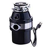 Yescom 1 HP 3200 RPM Continuous Feed Household Garbage Disposer for Kitchen Waste Disposal Operation Black