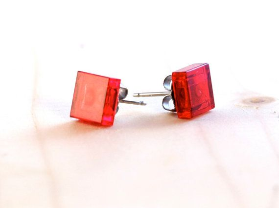 Red plastic earrings ~ LEGO® earrings ~ red square earrings ~ special gifts for tech geeks ~ unique jewellery ~ Valentines gifts for her ~ Exclusively at http://BrickandButton.etsy.com
