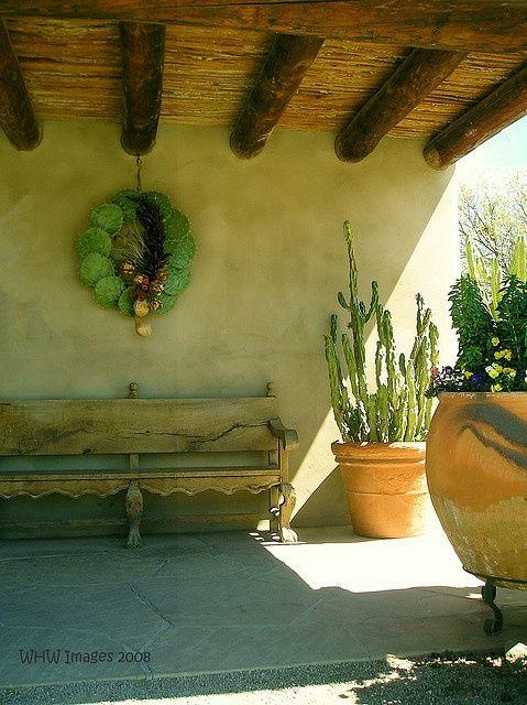 Southwest Style Pueblo Adobe Home Cactus Wreath