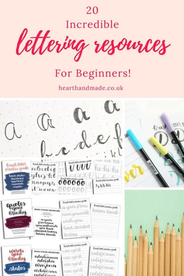 Do you want to learn hand lettering? Searching for a hand lettering alphabet to copy or hand lettering quotes to use as inspiration? Here's a round up of 20 of the best resources about hand lettering for beginners! So click through, copy the hand lettering fonts, create your own, learn fauxligraphy, calligraphy, brush lettering or even brush lettering!
