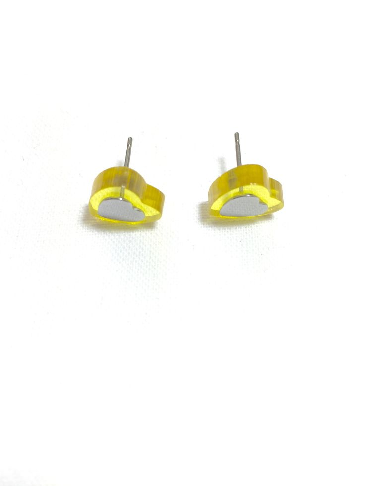 Yellow Mini Heart Stud Earrings