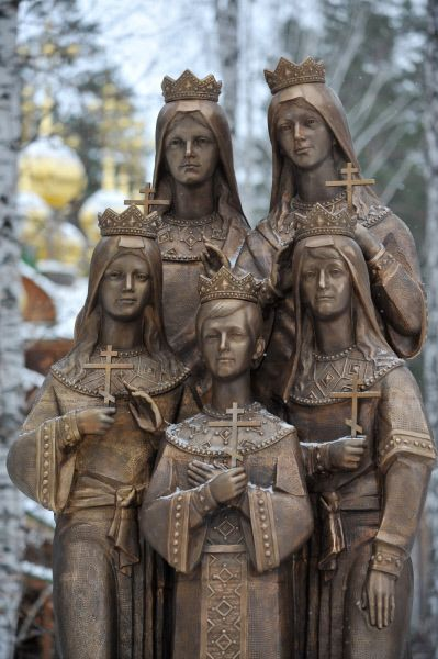 The three-meter-high Memorial dedicated to the Czar's children is located on the premises of the Ganina Yama church complex where the remains of the imperial family executed by the Bolsheviks were found.