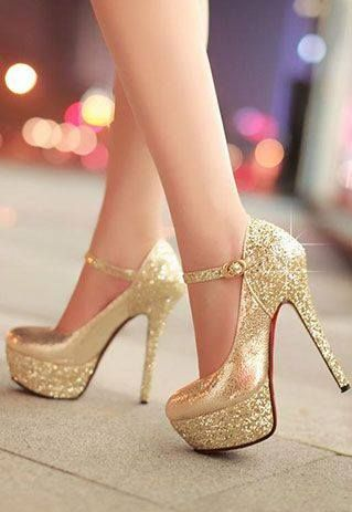 Sexy Elegant Mixing Color Sequin Strap High-heeled Shoes from littledaisy