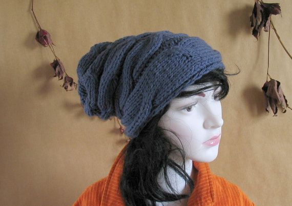 Hand Knit Hat  Slouchy Hat  Slouchy Women Hat  by recyclingroom