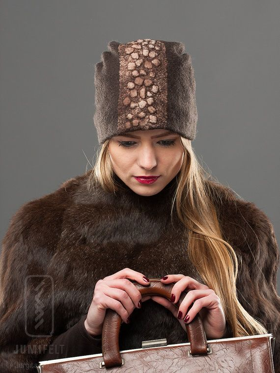 Felt Brown Hat Sport style Soft Wool Warm Headpiece by JumiFelt