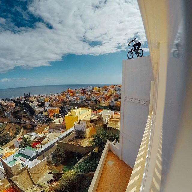 Photo of the Day! @danny_macaskill takes on the colorful rooftops of Gran Canaria while shooting his new edit 'Cascadia.' #Bike
