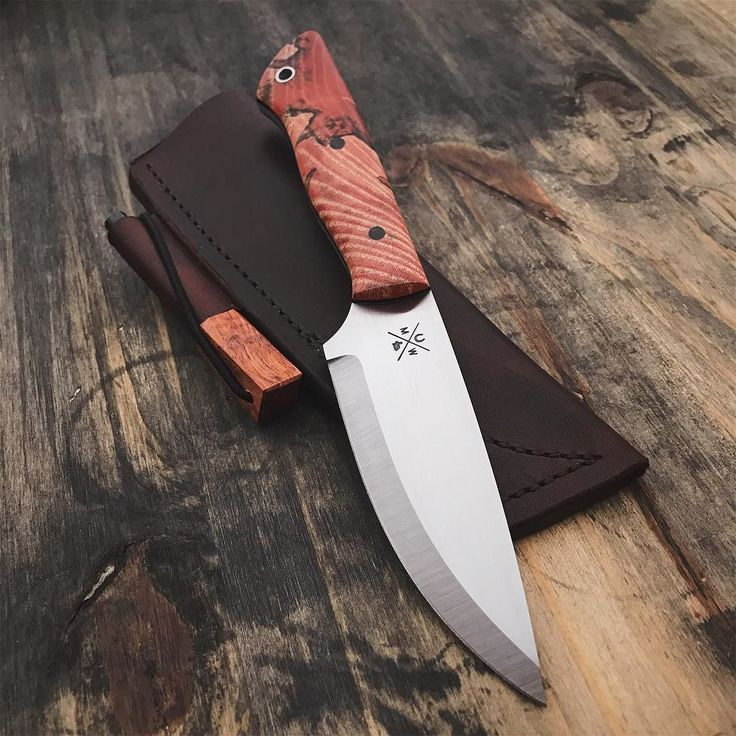 Finished with all it's bits. Bushcraft knife with hackberry handle leather sheath and flint. #knife #knives #handmade #hunting #camping #outdoors #edc #leather #leathercraft #blade #bushcraft #survival #tactical #knifepics #knifemaker #chicago