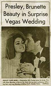ELVIS PRESLEY and Priscilla's wedding
