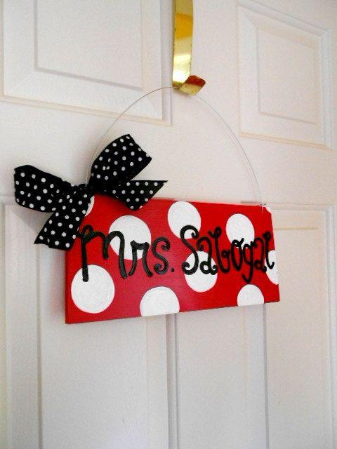 custom polka dot teacher door or classroom sign cute painted polka