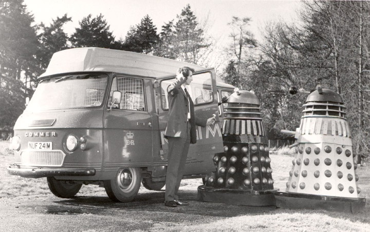 Daleks try to board the Sittingbourne postbus, 1970s.