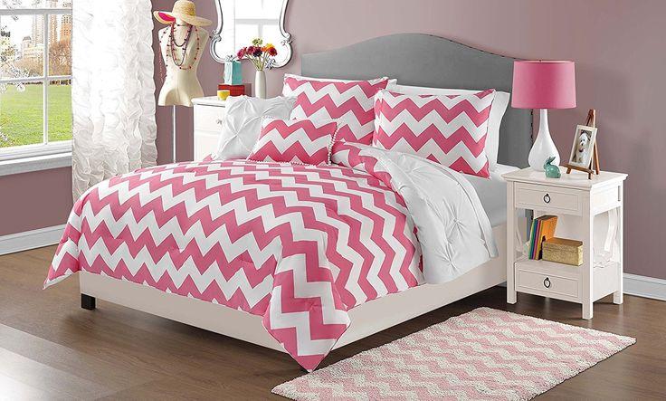 Girls Hot Pink Chevron Comforter Full Queen Set Diamond Pattern Pin Tucked Bedding Pretty Fun Horizontal Fun White Pinch Pleated Pintuck Puckered