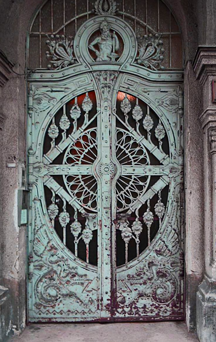 Pin antique garden gates in wrought iron an art nouveau style on - Cast Iron Dragon Motif Doors Art Nouveau Budapest
