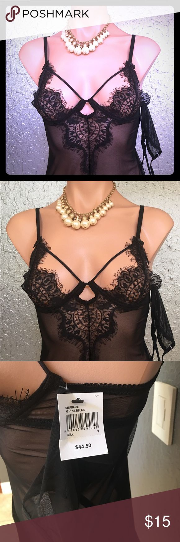 Frederick's of Hollywood Black Lace Slip. Black Lace Slip w/g-string panty, very sexy, lots of fun and romantic.  Black lingerie is always a MUST have.  All season outfit😜 Frederick's of Hollywood Intimates & Sleepwear Chemises & Slips