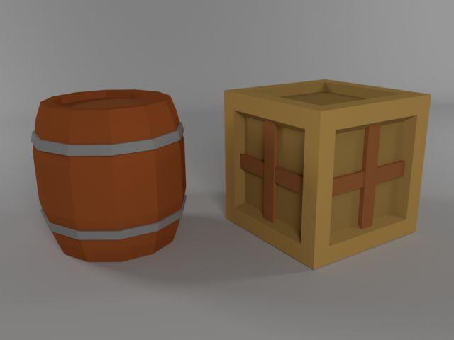 Low poly crate and barrel- https://3dexport.com/3dmodel-low-poly-cartoon-barrel-crate-123905.htm (2016)