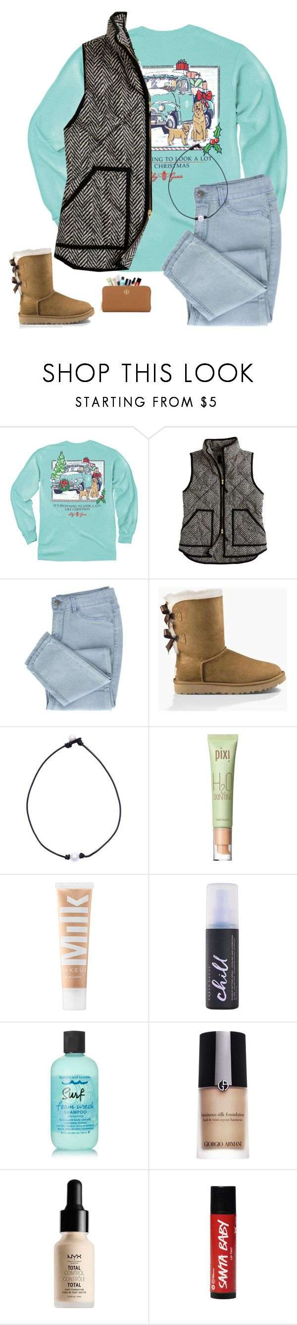 """""""~ rtd rtd rtd ~"""" by southern-preppster ❤ liked on Polyvore featuring J.Crew, UGG Australia, Pixi, MILK MAKEUP, Urban Decay, Bumble and bumble, Giorgio Armani, NYX, Tory Burch and audssouthernchristmas"""