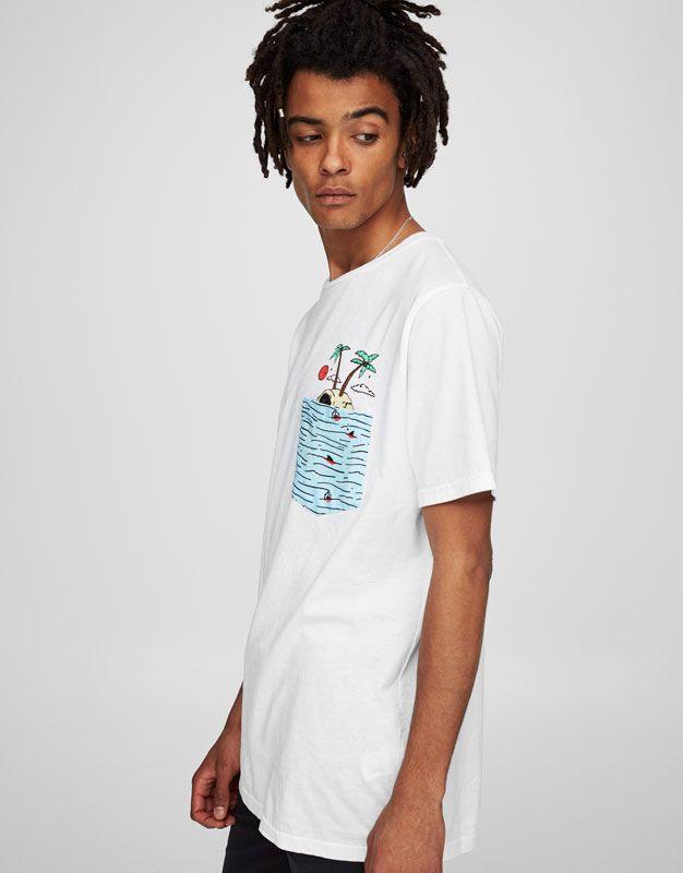 T-shirt met eilandprint zak - T-shirts - Kleding - Heren - PULL&BEAR Netherlands