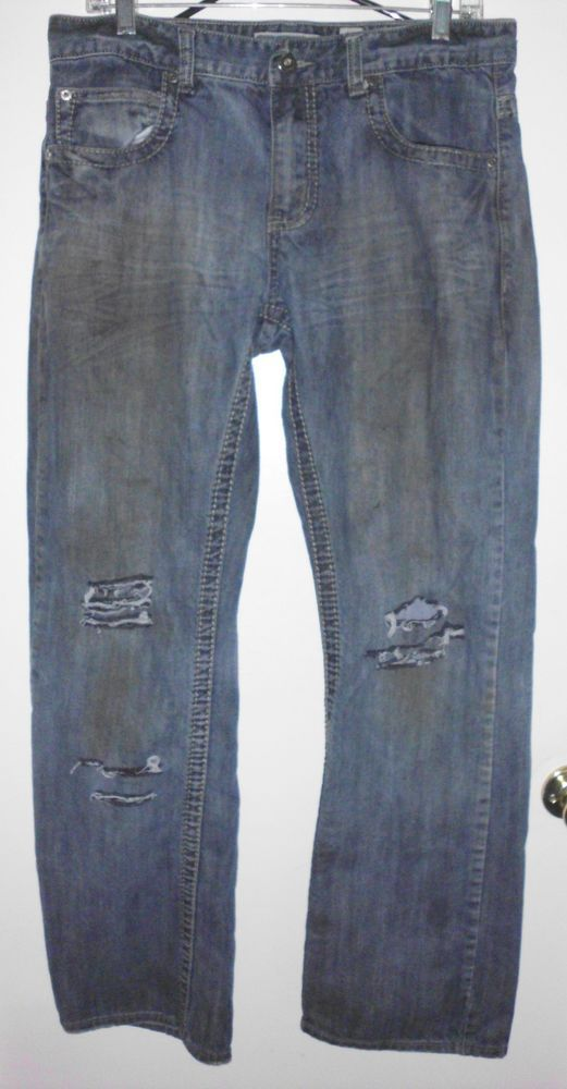 INC Copenhagen Modern Boot Destroyed Mid Rise Blue Denim Jeans 31.5Lx33W Men #INCInternationalConcepts #CopenhagenModernBoot