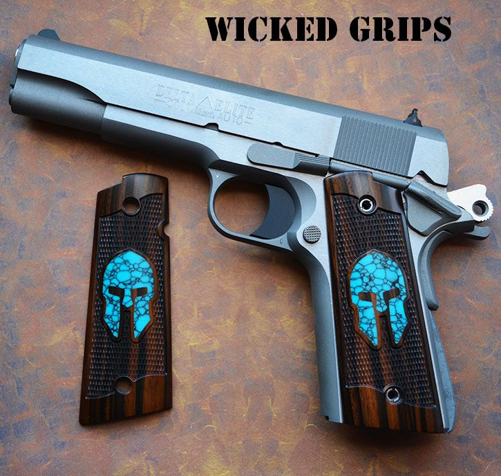 ALL NEW WICKED GRIPS WOOD GEMSTONE INLAY SERIES! TURQUOISE SPARTAN IN EBONY