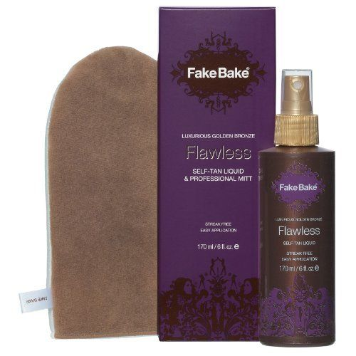 Fake Bake Flawless, 6-Ounce. Fake Bake Flawless Self-Tan Liquid can be applied with a professional mitt that is included with the product. If applied with gliding strokes it will give you a great all over tan. It can be used throughout the day as it has a quick drying, fast absorbing formula. $14.99 #skintan #tanproducts