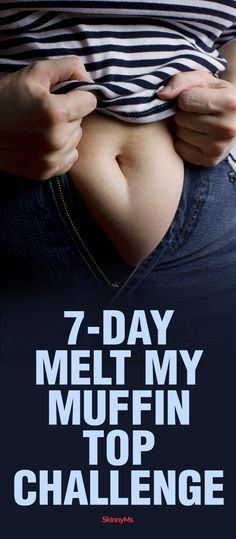 7-Day Melt My Muffin Top Challenge- get rid of low rise jean spill over or that tire around the waist feeling. #muffintopworkout