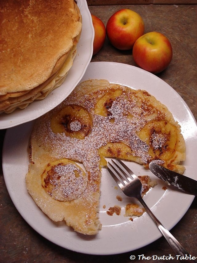 The Dutch Table: Pannenkoeken (Dutch Pancakes)...with thin apple slices and cinnamon-sugar.