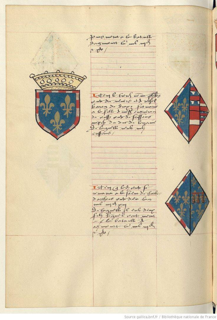 Coat of arms of Philip II, Count of Nevers and Rethel and of Isabelle de Coucy and Bonne of Artois. Receuil de la généalogie de la noble maison de Luxembourg.
