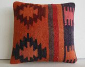 DECORATIVE PILLOW Decorative Throw Pillow Kilim Pillow Cover Turkish Cushion Case southwestern midcentury tapestry woven decor Downey orange
