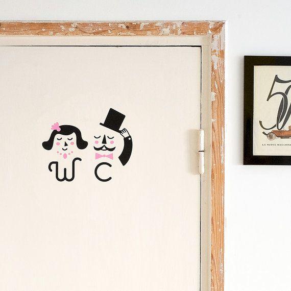 Ladies Gentlemen Toilet Sign Door Decal Bathroom Wc Vinyl Sticker Restroom Home Decor