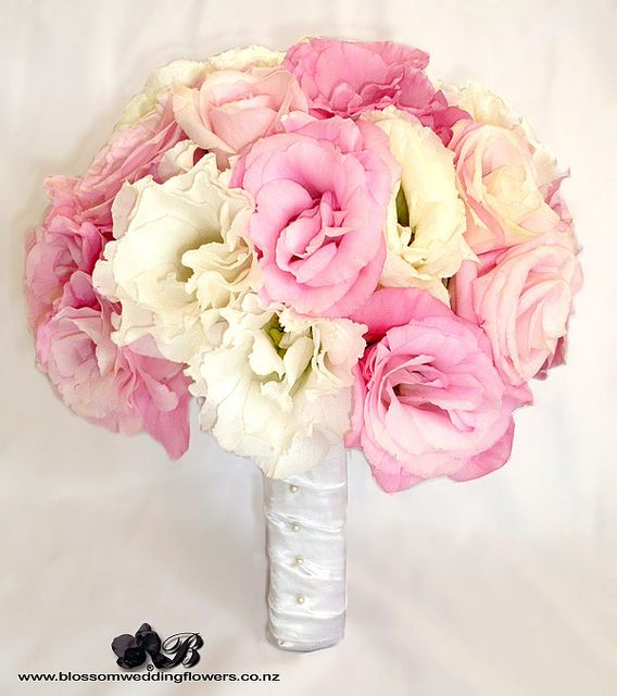 Bridal Bouquet Using Pale Pink And White Lisianthus Roses Hydrangea Bound In
