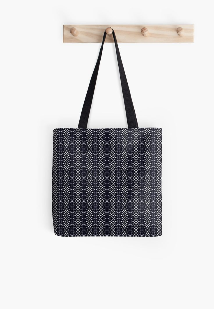 Meshed (Midnight) Tote Bag by Terrella.  A pattern of horizontal and vertical diamonds with links between the bars.  This is the midnight version. • Also buy this artwork on bags, apparel, phone cases, and more.