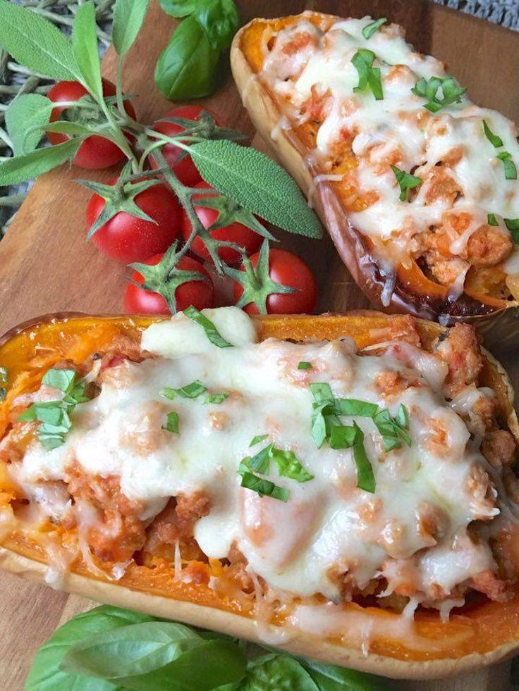 Low Carb Kürbis Lasagne mit Bolognese und Käse Paleo Primal Rezept