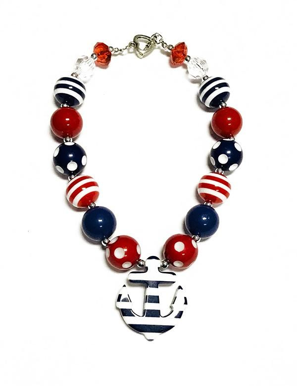 NAVY BLUE & RED BUBBLE NECKLACE WITH ANCHOR PENDANT
